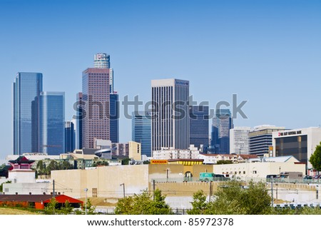 LOS ANGELES - JUNE 30: The skyline of downtown Los  Angeles, CA on the morning of June 30, 2011. The downtown business and financial district was developed under Tom Bradley administration in the 1970's. - stock photo