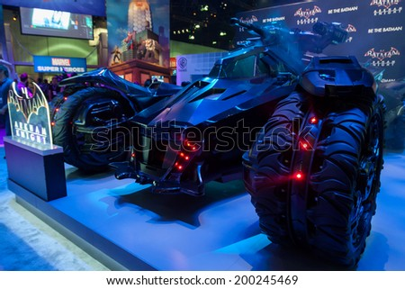 LOS ANGELES - JUNE 12: Warner Bros teases Batman Arkham Knight videogame with a 1:1 replica of the newly designed Bat Mobile at E3 2014, the Expo for video games on June 12, 2014 in Los Angeles - stock photo