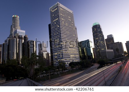 Los Angeles just after sunset - stock photo