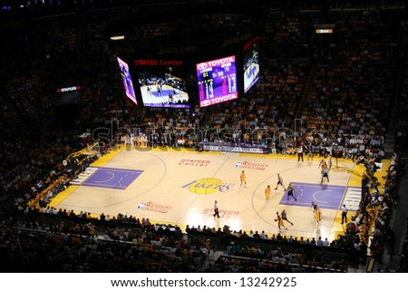 Los Angeles Lakers vs San Antonio Spurs - stock photo