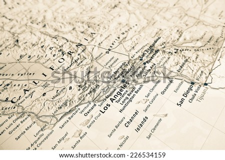 Los Angeles map (Geographical view altered on colors/perspective and focus on the edge. Names can be partial or incomplete) - stock photo
