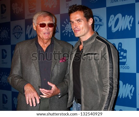 LOS ANGELES - MAR 21:  Adam West, Antonio Sabato Jr arrive at the Batman Product Line Launch at the Meltdown Comics on March 21, 2013 in Los Angeles, CA - stock photo