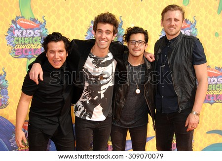 LOS ANGELES - MAR 29:  American Authors arrives at the 2014 NICKELODEON KIDS CHOICE AWARDS  on March 29, 2014 in Los Angeles, CA