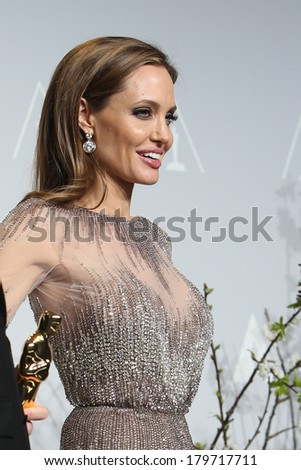 LOS ANGELES - MAR 2:  Angelina Jolie at the 86th Academy Awards at Dolby Theater, Hollywood & Highland on March 2, 2014 in Los Angeles, CA - stock photo