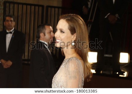 LOS ANGELES - MAR 2:: Angelina Jolie  at the 86th Annual Academy Awards at Hollywood & Highland Center on March 2, 2014 in Los Angeles, California - stock photo