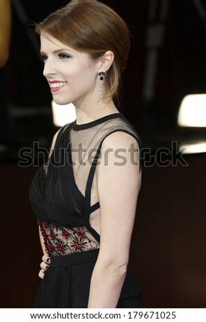 LOS ANGELES - MAR 2:  Anna Kendrick at the 86th Academy Awards at Dolby Theater, Hollywood & Highland on March 2, 2014 in Los Angeles, CA - stock photo