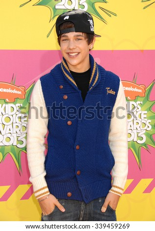 LOS ANGELES - MAR 23 - Austin Mahone arrives at the Nickelodeons 2013 Kids Choice Awards on March 23,  2013 in Los Angeles, CA              - stock photo