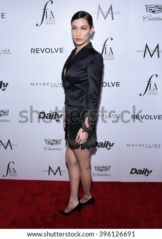 LOS ANGELES - MAR 20:  Bella Hadid arrives to the 2nd Annual Fashion Los Angeles Awards  on March 20, 2016 in Hollywood, CA.                 - stock photo