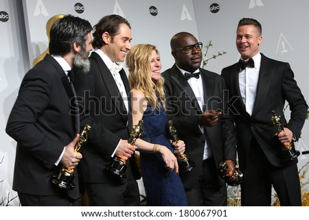 LOS ANGELES - MAR 2:  Best Picture Producers - Anthony Katagas, Jeremy Kleiner, Dede Gardner, Steve McQueen, Brad Pitt  at the 86th Academy Awards at Dolby Theater on March 2, 2014 in Los Angeles, CA - stock photo