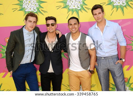 LOS ANGELES - MAR 23 - Big Time Rush arrives at the Nickelodeons 2013 Kids Choice Awards on March 23,  2013 in Los Angeles, CA              - stock photo