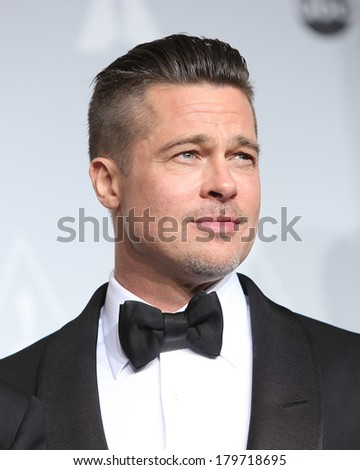 LOS ANGELES - MAR 2:  Brad Pitt at the 86th Academy Awards at Dolby Theater, Hollywood & Highland on March 2, 2014 in Los Angeles, CA - stock photo