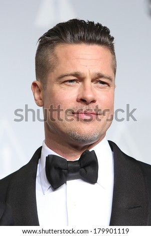 LOS ANGELES - MAR 2:: Brad Pitt  in the press room at the 86th Annual Academy Awards on March 2, 2014 in Los Angeles, California - stock photo