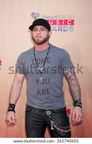 LOS ANGELES - MAR 29:  Brantley Gilbert at the 2015 iHeartRadio Music Awards Arrivals at the Shrine Auditorium on March 29, 2015 in Los Angeles, CA - stock photo