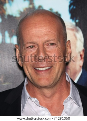 LOS ANGELES - MAR 22:  Bruce Willis arrives to 'His Way' Los Angeles Premiere  on March 22, 2011 in Hollywood, CA - stock photo