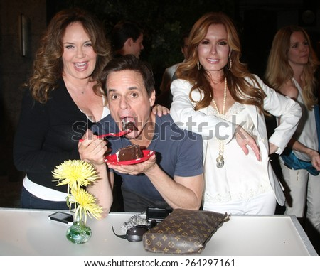LOS ANGELES - MAR 26:  Catherine Bell, Christian LeBlanc, Tracey Bregman at the Young & Restless 42nd Anniversary Celebration at the CBS Television City on March 26, 2015 in Los Angeles, CA - stock photo
