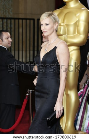 LOS ANGELES - MAR 2:: Charlize Theron  at the 86th Annual Academy Awards at Hollywood & Highland Center on March 2, 2014 in Los Angeles, California - stock photo