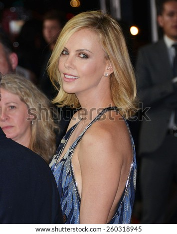"LOS ANGELES - MAR 12:  Charlize Theron at the ""The Gunman"" Premiere at the Regal 14 Theaters on March 12, 2015 in Los Angeles, CA - stock photo"