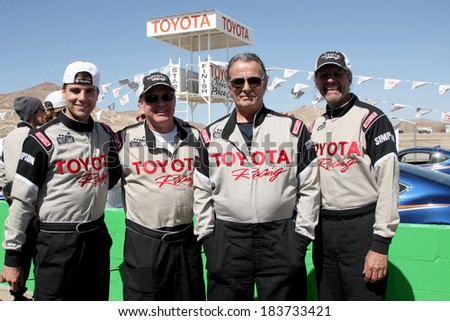 LOS ANGELES - MAR 15:  Colin Egglesfield, Al Unser Jr, Eric Braeden, Kyle Petty at the Toyota Grand Prix of LB Pro-Celebrity Race Training at Willow Springs Speedway on March 15, 2014 in Rosamond, CA - stock photo
