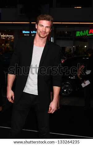 "LOS ANGELES - MAR 28:  Derek Theler arrives at the ""G.I. Joe: Retaliation""  LA Premiere at the Chinese Theater on March 28, 2013 in Los Angeles, CA"