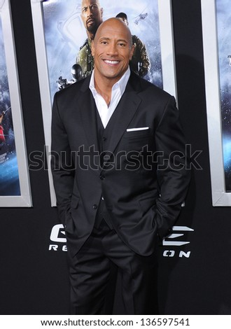 """LOS ANGELES - MAR 28:  Dwayne Johnson arrives to the """"G.I. Joe: Retaliation"""" Los Angeles Premiere  on March 28, 2013 in Hollywood, CA. - stock photo"""