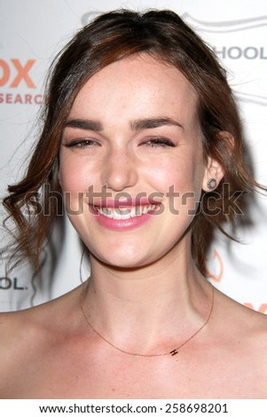 LOS ANGELES - MAR 7:  Elizabeth Henstridge at the Raising The Bar To End Parkinsons Event at the Public School 818 on March 7, 2015 in Sherman Oaks, CA - stock photo