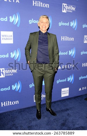 LOS ANGELES - MAR 21:  Ellen DeGeneres at the 26th Annual GLAAD Media Awards at the Beverly Hilton Hotel on March 21, 2015 in Beverly Hills, CA - stock photo