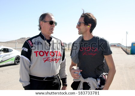 LOS ANGELES - MAR 15:  Eric Braeden, Adrien Brody at the Toyota Grand Prix of Long Beach Pro-Celebrity Race Training at Willow Springs International Speedway on March 15, 2014 in Rosamond, CA - stock photo