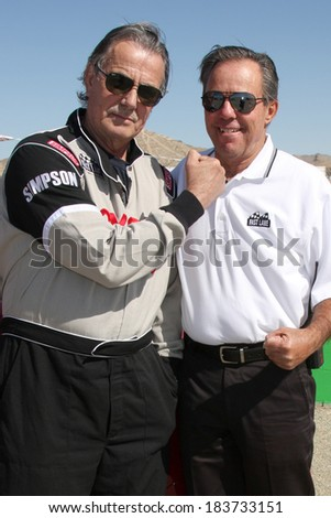 LOS ANGELES - MAR 15:  Eric Braeden, Danny McKeever at the Toyota Grand Prix of Long Beach Pro-Celebrity Race Training at Willow Springs International Speedway on March 15, 2014 in Rosamond, CA - stock photo