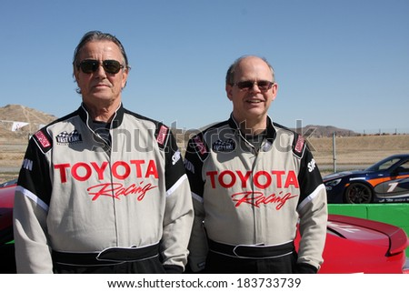LOS ANGELES - MAR 15:  Eric Braeden, Doug Fregin at the Toyota Grand Prix of LB Pro-Celebrity Race Training at Willow Springs Speedway on March 15, 2014 in Rosamond, CA - stock photo