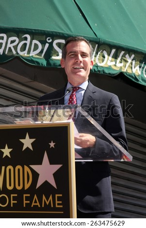 LOS ANGELES - MAR 24:  Eric Garcetti at the Will Ferrell Hollywood Walk of Fame Star Ceremony at the Hollywood Boulevard on March 24, 2015 in Los Angeles, CA - stock photo