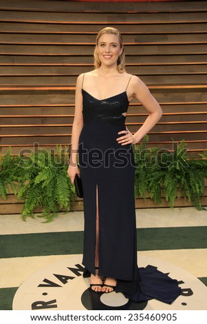 LOS ANGELES - MAR 2:  Greta Gerwig at the 2014 Vanity Fair Oscar Party at the Sunset Boulevard on March 2, 2014 in West Hollywood, CA - stock photo