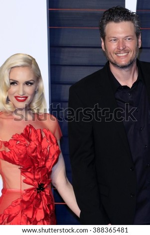 LOS ANGELES - MAR 3:  Gwen Stefani, Blake Shelton at the Bosch Season 2 Premiere Screening at the Silver Screen Theater at the Pacific Design Center on March 3, 2016 in West Hollywood, CA - stock photo