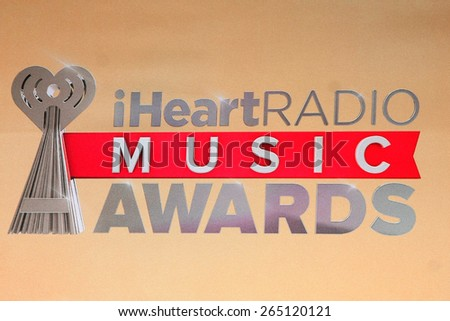 LOS ANGELES - MAR 29:  Iheart Radio Music Awards Emblem at the 2015 iHeartRadio Music Awards Press Room at the Shrine Auditorium on March 29, 2015 in Los Angeles, CA - stock photo