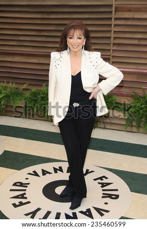 LOS ANGELES - MAR 2:  Jackie Collins at the 2014 Vanity Fair Oscar Party at the Sunset Boulevard on March 2, 2014 in West Hollywood, CA - stock photo
