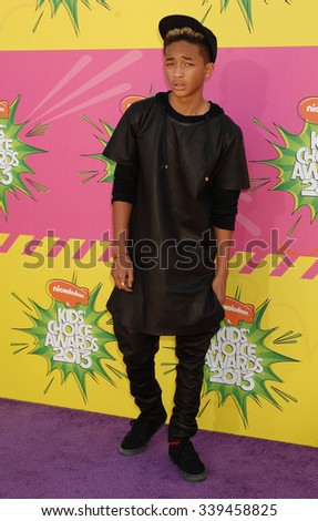LOS ANGELES - MAR 23 - Jaden Smith arrives at the Nickelodeons 2013 Kids Choice Awards on March 23,  2013 in Los Angeles, CA              - stock photo