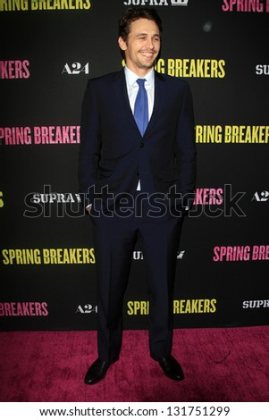 "LOS ANGELES - MAR 14:  James Franco arrives at the 'Spring Breakers"" Premiere at the Arclight, Hollywood on March 14, 2013 in Los Angeles, CA - stock photo"