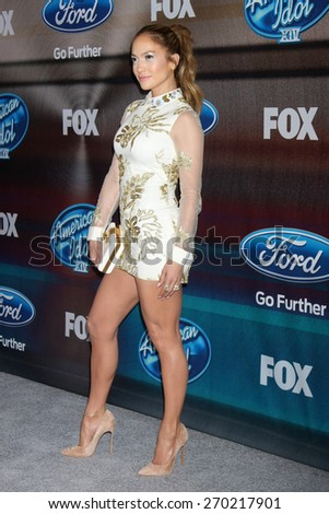"""LOS ANGELES - MAR 11:  Jennifer Lopez at the """"American Idol Season 14"""" Finalist Party at the The District Resturant on March 11, 2015 in Los Angeles, CA  - stock photo"""