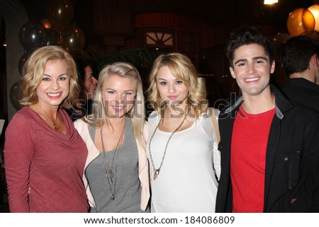 LOS ANGELES - MAR 25:  Jessica Collins, Kelli Goss, Hunter King, Max Erlich at the Young and Restless 41st Anniversary Cake at CBS Television City on March 25, 2014 in Los Angeles, CA - stock photo