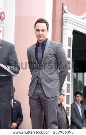 LOS ANGELES - MAR 11:  Jim Parsons at the Jim Parsons Hollywood Walk of Fame Ceremony at the Hollywood Boulevard on March 11, 2015 in Los Angeles, CA - stock photo