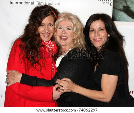 "LOS ANGELES - MAR 26:  Joely Fisher, Connie Stevens, Tricia Leigh FIsher arriving at the ""Saving Grace B. Jones""  Movie Screening at Laemmle's Sunset 5 Theater on March 26, 2011 in West Hollywood, CA"