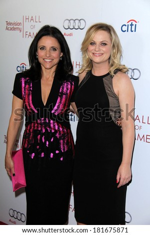 LOS ANGELES - MAR 11:  Julia Louis-Dreyfus, Amy Poehler at the Television Academy's 23rd Hall Of Fame Induction Gala at Beverly Wilshire Hotel on March 11, 2014 in Beverly Hills, CA - stock photo