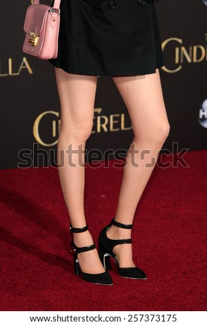 LOS ANGELES - MAR 1: Karen Gillan at the World Premiere of 'Cinderella' at the El Capitan Theater on March 1, 2015 in Hollywood, Los Angeles, California - stock photo