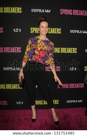 "LOS ANGELES - MAR 14:  Katie Aselton arrives at the 'Spring Breakers"" Premiere at the Arclight, Hollywood on March 14, 2013 in Los Angeles, CA - stock photo"