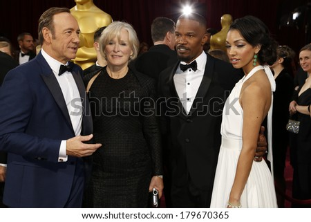 LOS ANGELES - MAR 2:  Kevin Spacey, Glenn Close, Jamie Foxx, Corinne Bishop at the 86th Academy Awards at Dolby Theater, Hollywood & Highland on March 2, 2014 in Los Angeles, CA - stock photo