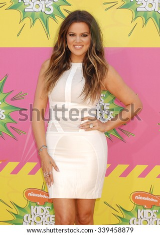 LOS ANGELES - MAR 23 - Khloe Kardashian arrives at the Nickelodeons 2013 Kids Choice Awards on March 23,  2013 in Los Angeles, CA              - stock photo