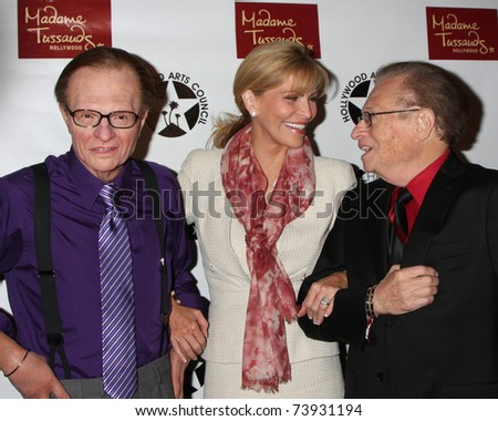 LOS ANGELES - MAR 25:  Larry King Wax figure (Purple shirt) with Shawn Southwick King and Larry King at the Charlie Awards at Hollywood Roosevelt Hotel on March 25, 2011 in Los Angeles, CA - stock photo