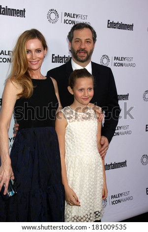 LOS ANGELES - MAR 10:  Leslie Mann, Iris Apatow, Judd Apatow at the PALEYFEST Icon Award IHO Judd Apatow at Paley Center For Media on March 10, 2014 in Beverly Hills, CA - stock photo