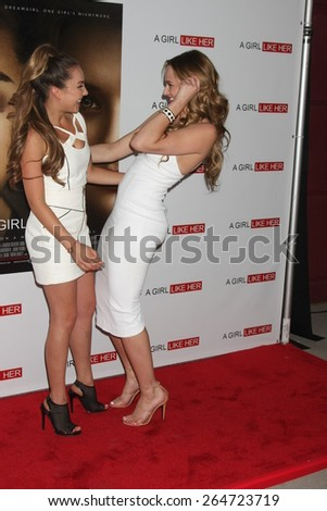 """LOS ANGELES - MAR 27:  Lexi Ainsworth, Hunter King at the """"A Girl Like Her"""" Screening at the ArcLight Hollywood Theaters on March 27, 2015 in Los Angeles, CA - stock photo"""