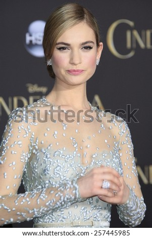 "LOS ANGELES - MAR 1:  Lily James at the ""Cinderella"" World Premiere at the El Capitan Theater on March 1, 2015 in Los Angeles, CA - stock photo"
