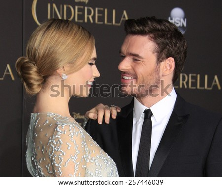 "LOS ANGELES - MAR 1:  Lily James, Richard Madden at the ""Cinderella"" World Premiere at the El Capitan Theater on March 1, 2015 in Los Angeles, CA - stock photo"